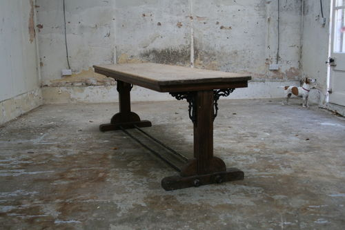 Pine and Cast Iron Table SOLD