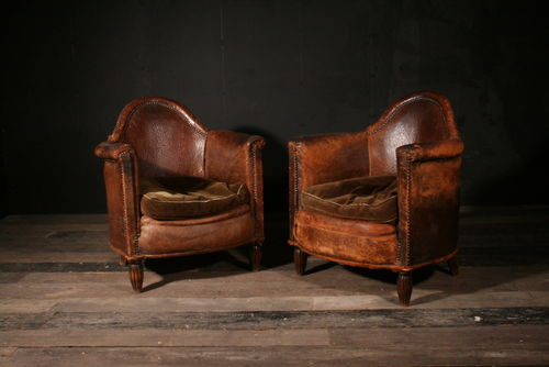 Pair of Gothic Leather Club Chairs POA