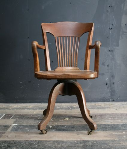 Revolving Oak Desk Chair SOLD