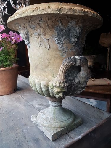 Pair buff terracotta urns James Stiff & Sons SOLD