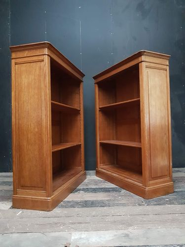 Pair dry oak English bookcases Sold