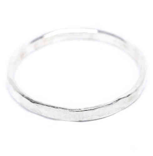 Sterling Silver Fine Hammered Midi Ring