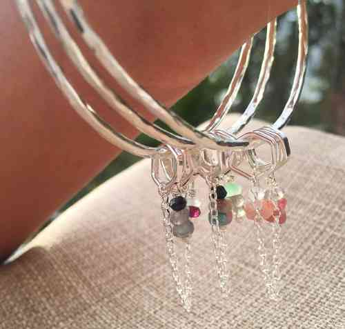 Sterling Silver Hex Gem Bangle