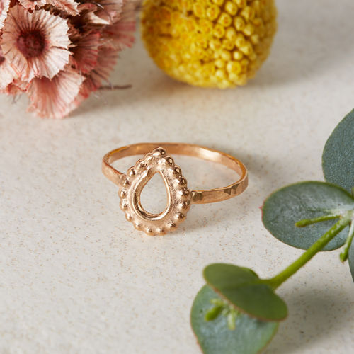 Rose Gold Tear Drop Sparkle Ring