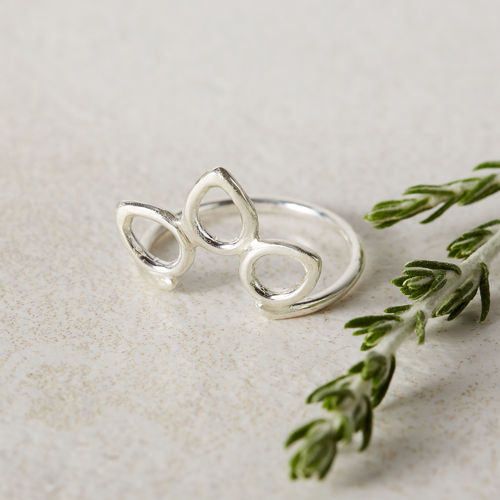 Sterling Silver Flower Halo Ring
