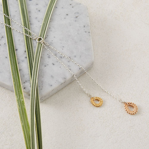 Sterling Silver, Rose Gold & Gold Teardrop Lariat Necklace