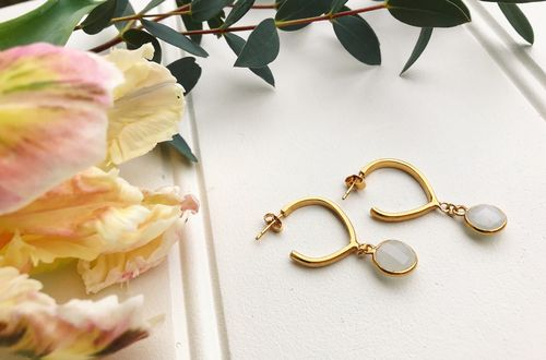 Mega Teardrop Gemstone Hoops
