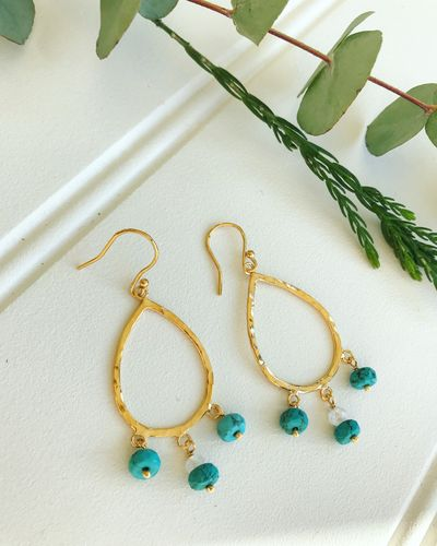 Teardrop Raw Gem Pendant Earrings