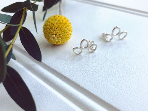 Sterling Silver Flower Halo Studs