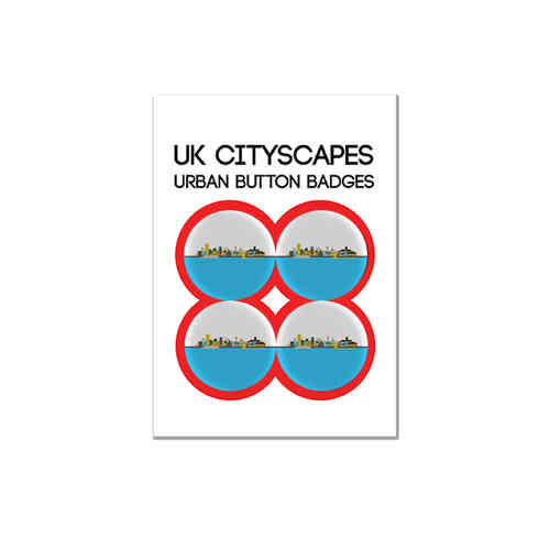 Cityscape Liverpool badge multipack of four