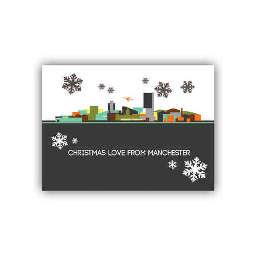 Cityscape Manchester christmas card