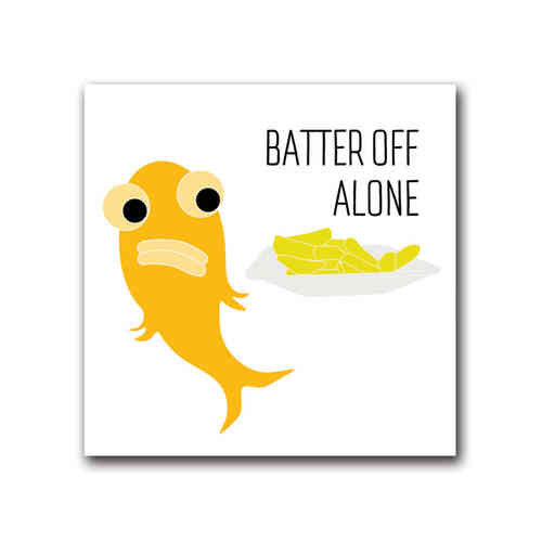Blank fish batter off alone card