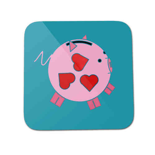 Playful pig piggy bank coaster