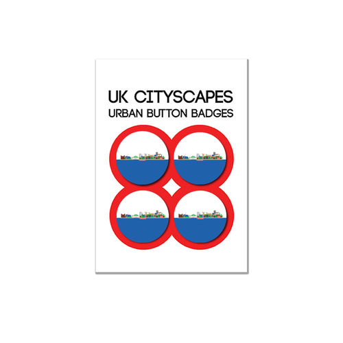 Cityscape Newcastle badge multipack of four