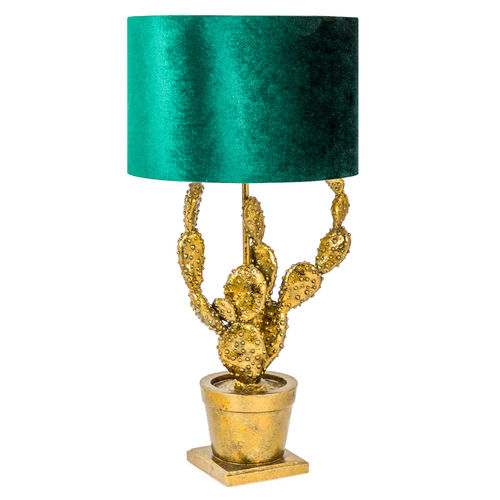 Antique Gold Style Potted Cactus Table Lamp