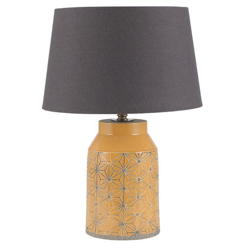 Mustard Stoneware Etched Table Lamp