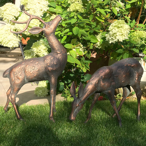 Small Deer Garden Statues Pair