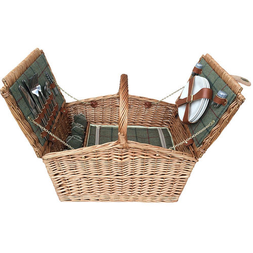 4 Person Willow Green Tweed Picnic Basket