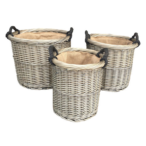 Set of 3 Willow Log Baskets