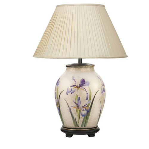 Jenny Worrall Purple Iris Oval Table Lamp