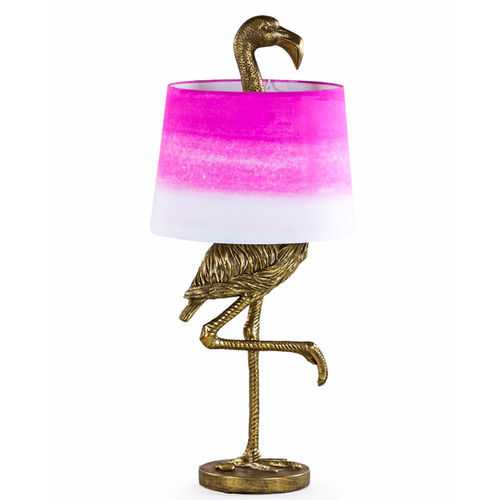 Tall Flamingo Table Lamp With Pink/White Shade