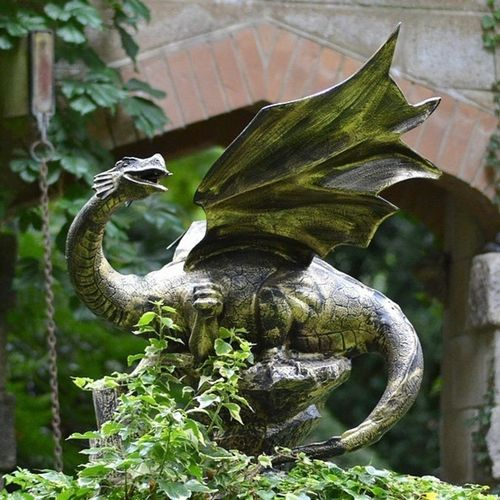 Small Metal Garden Dragon Sculpture