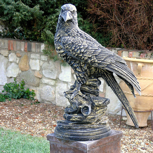 Large Eagle Standing On Rock Garden Sculpture
