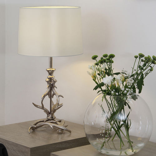 Nickel Antler Style Table Lamp and Shade
