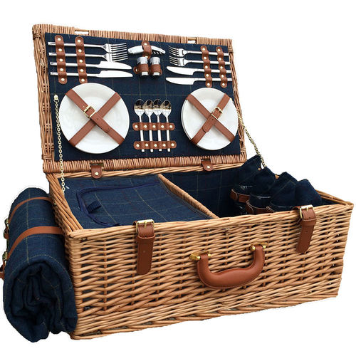Luxury Cheshire Picnic Basket Blue Tweed