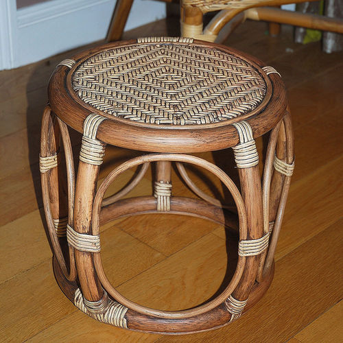 Small Round Cane Footstool Chestnut