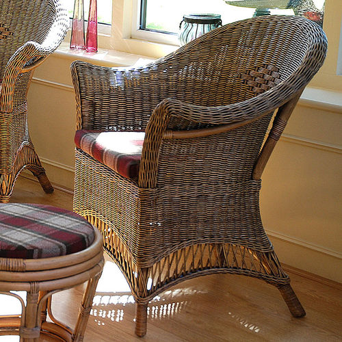 Loom Style Wicker Conservatory Chair Chestnut