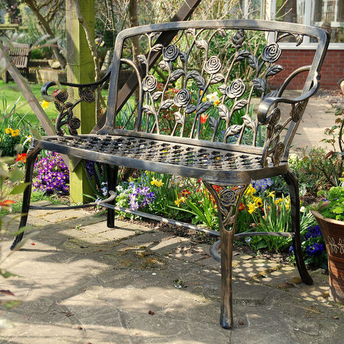 Cast Aluminium Rose Garden Bench