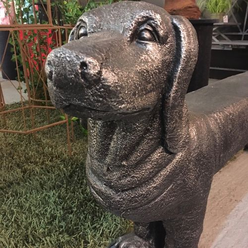 Resin Sausage Dog Garden or Indoor Bench