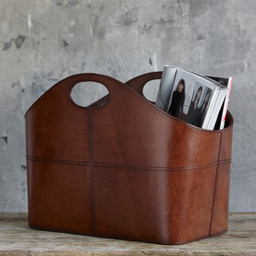 Curved Leather Magazine Storage Basket With Handles