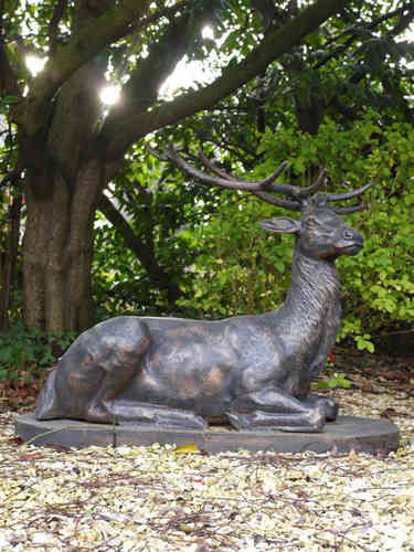 Laying Cast Iron Garden Stag Ornament
