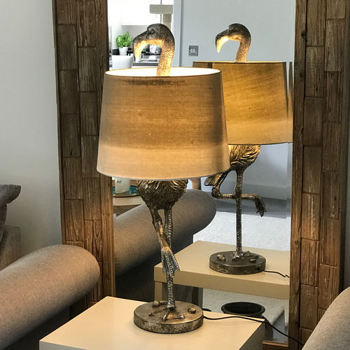Flamingo Table Lamp Silver Finish Sage Lamp