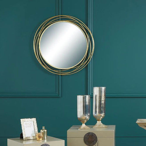 Antique Style Gold Metal Round Wall Mirror