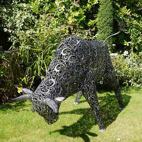 Large Metal Bull Garden Sculpture