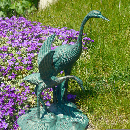 Pair of Small Standing Cranes Garden Ornament