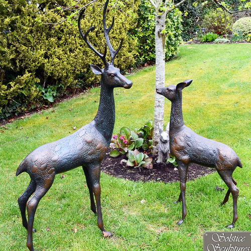 Large Aluminium Garden Deer Sculptures Dark Verdigris