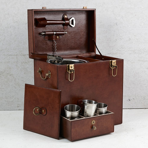 Luxury Brown Leather Drinks Carry Box