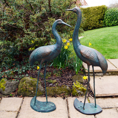 Pair Of Standing Cranes Dark Verdigris