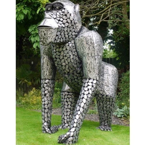 Huge Silver Metal Garden Gorilla Sculpture