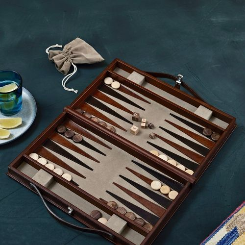 Leather Bound Backgammon Board Game