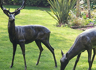 A-Pair-of-Garden-Stag-and-Doe-Metal-Sculpture