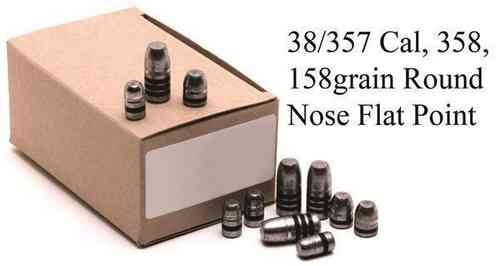 38/357 GM Lead Bullet Heads 158grain Round Nose Flat Pkt 500 3605E