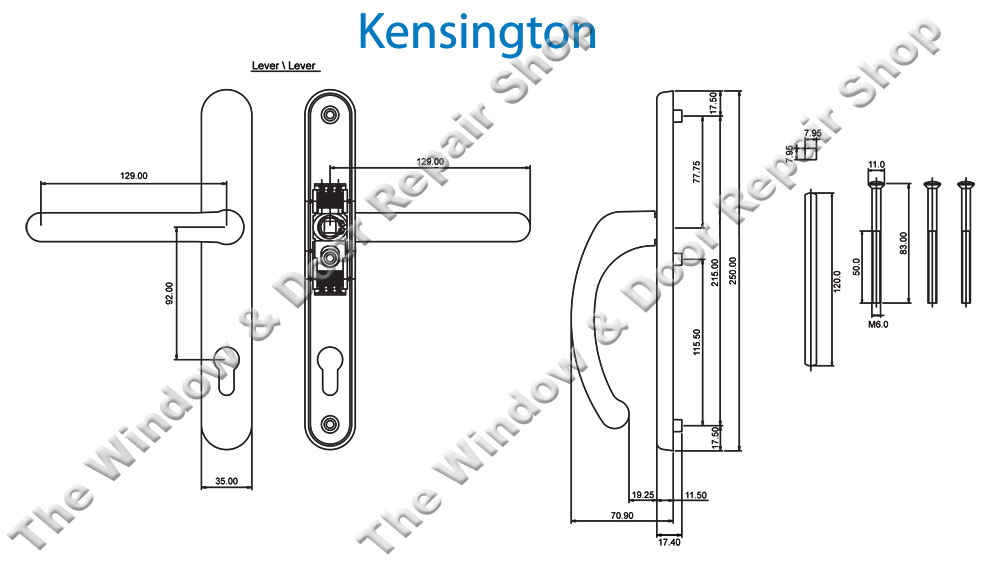 Kensington 92mm Pz Lever Lever Door Handle By Fab Amp Fix