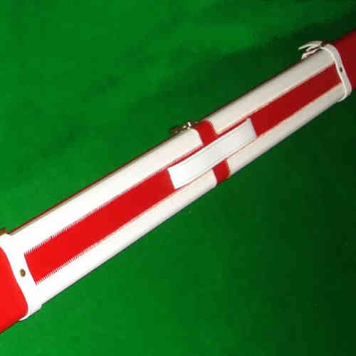 Luxury Hand Crafted 1 piece Red and White Leather ST GEORGES Hard Snooker Cue Case.