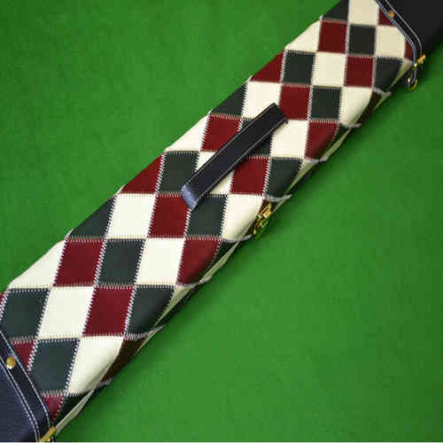 Luxury Hand Crafted 3/4 Three Compartment Wide Patch Diamond Design Hard Snooker Cue Case