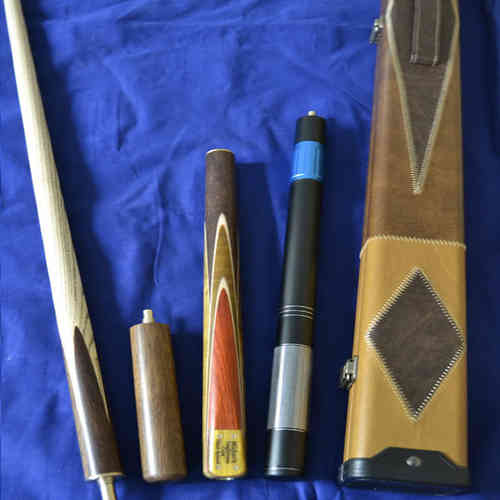 Handmade 4 piece Ash Snooker/Pool Cue with Handstitched Cue Case
